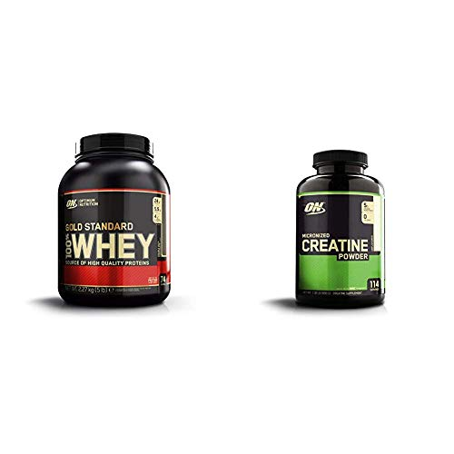 OPTIMUM NUTRITION Gold Standard Whey Protein Powder, Double Rich Chocolate with Micronized Creatine Monohydrate Powder, Unflavored