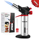 YISSVIC Butane Torch Refillable Kitchen Torch Professional Cooking Torch with Safety Lock and Fuel Gauge for Cooking, Baking, BBQ (Fuel Not Included, Come With 1 Oil Brush)