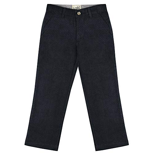 Buyless Fashion Boys Pants Flat Front Slim Fit Casual Corduroy Solid Color - 19W1824-NVY-10 Navy