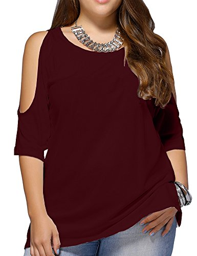 Allegrace Women Plus Size Cold Shoulder T Shirt Short Sleeve Fashion Top Blouse Wine Red 2X