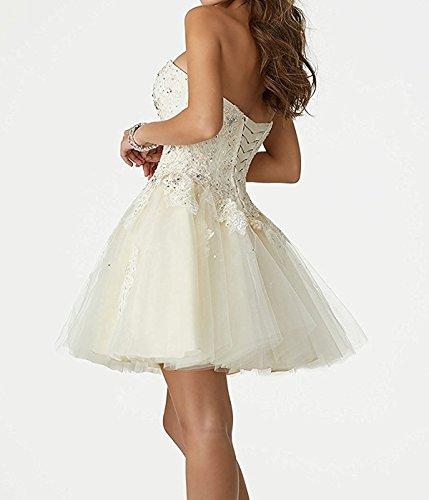 Prinzessin Schatzhals Kurz Partykleider Beyonddress Weiß Hochzeitskleider Abendkleider Damen Elegant Spitze CScTU