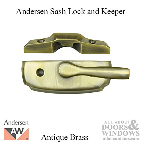 Andersen Woodwright Double Hung Windows Sash Lock & Keeper Set - Antique Brass by Andersen Windows
