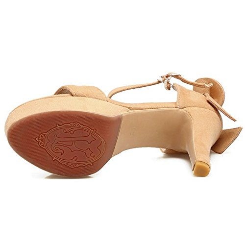 RAZAMAZA Mujer tacon Alto Sandalias Plataforma Punta Abierta Fiesta Zapatos con bow Amarillo