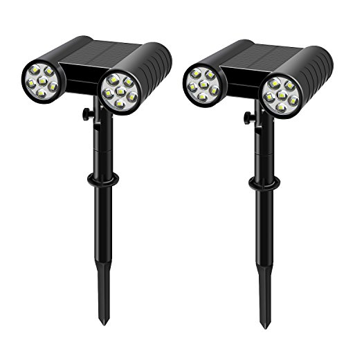 Dual Mount Spotlight - WdtPro Solar Lights Outdoor Bright 2-in-1 Solar Spotlight 12 LED Dual Head Landscape Lights, Adjustable Solar Wall Light Security Lighting Dark Sensing Auto On/Off for Pathway Yard Garden Driveway