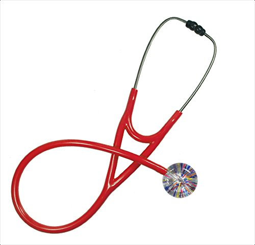 (Stethoscope - Clinical Grade - Professional - Single Adult - 009 Confetti, Silver; Red Tubing By Ultrascope)