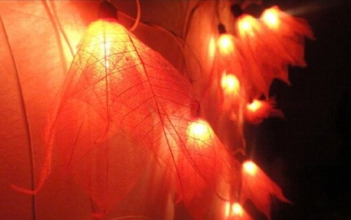 Thai Vintage Handmade 20 Set Fire Bodhi Leave Flower Fairy Lights String 3.5M Party Patio Home Decor by T