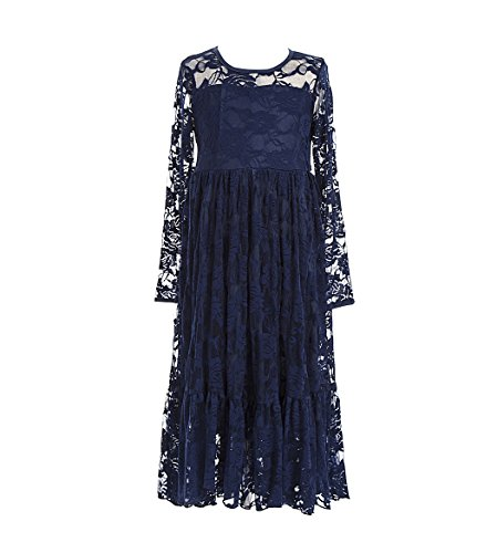 belababy Flower Girl Dresses Size 8 Navy Blue Maxi Lace Long Sleeve