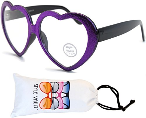 W135-vp Style Vault Heart Clear Lens Eyeglasses (B2730F Glittered Purple-Clear, - Eyeglasses Shaped Heart