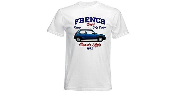 TEESANDENGINES Renault 5 GT Turbo Camiseta Blanca para Hombre de Algodon: Amazon.es: Ropa y accesorios