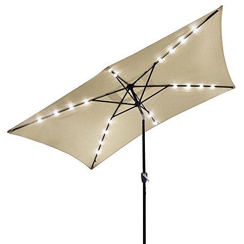YesHom 10x6.5ft Rectangle Patio Solar Powered LED Umbrella Tilt and Crank Outdoor Sunshade for Garden, Backyard, Beige (Sun Parasol Sun Easy Garden)