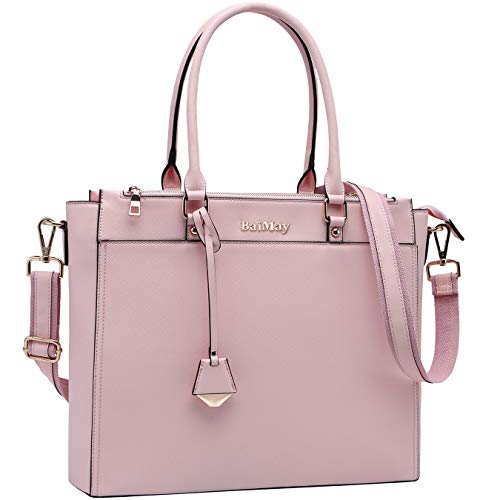 Laptop Bag for Women,15.6-17 Inch Laptop Tote Ladies Briefcase Roomy Work Bag Computer Bag-Pink 17in