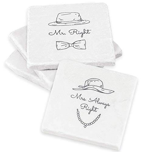 (Mr Right Mrs Always Right - Mr and Mrs Gifts Coasters 2x2 - Funny Wedding Gift, Bridal Shower Gifts or Anniversary Gifts)