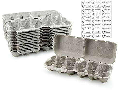Half Dozen Egg Cartons (30-Pack); Split Apart Style for 6 Egg or 12 Egg Use; Holds 180 Eggs Total (Egg Cartons Wholesale)