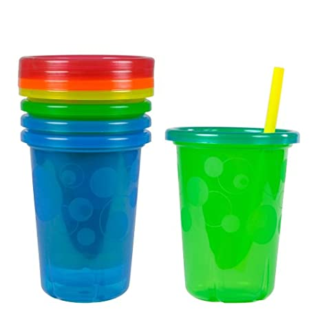 The First Years Take & Toss Spill Proof Straw Cups, 10 Ounce, Pack of 4 1