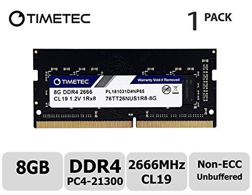 Timetec Hynix IC 8GB DDR4 2666MHz PC4-21300 Unbuffered Non-ECC 1.2V CL19 1Rx8 Single Rank 260 Pin SODIMM Laptop Notebook Computer Memory RAM Module Upgrade (Timetec -