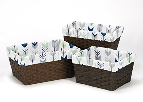 Sweet Jojo Designs 3-Piece Fits Most Basket Liners for Grey, Navy and Mint Woodland Arrow Bedding Sets by Sweet Jojo Designs