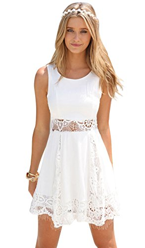 Imixshop Women's Sexy Sleeveless Lace Patchwork Hollow Out Mini Dress