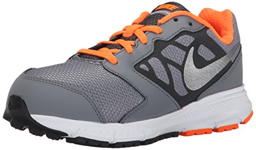 NIKE Boys' Downshifter 6 Running Shoe (GS/PS), Cool Grey/Metallic Silver/Total Orange, 12 M US Little Kid