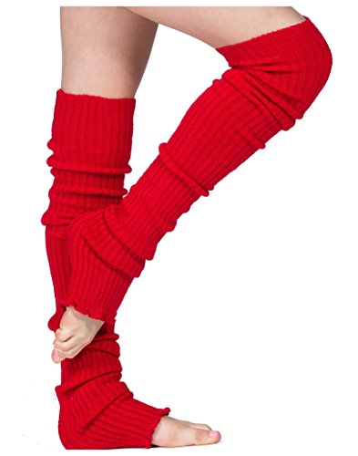 Red Sexy Pro Dancer Thigh High 28 Inch Leg Warmers by KD dance New York Stretch Knit Made In USA