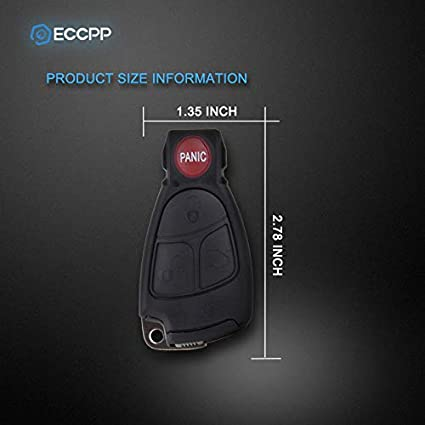Pack of 1 ECCPP Replacement fit for Uncut Keyless Entry Remote Control Car Key Fob Shell Case Mercedes-Benz C280 C350 CLK350 E350 S350 CLK500 G500 S600 SL500 IYZ 3312