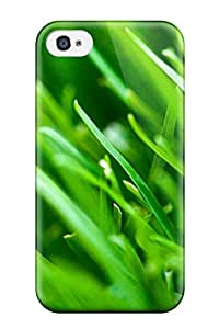 Excellent Iphone 4/4s Case Tpu Cover Back Skin Protector Fresh Green Grass Leaves