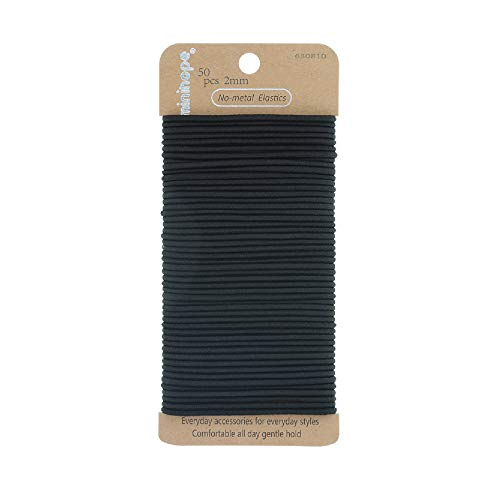 Minihope no-metal girls elastic hair ties, women's black elastics, 2mm neutral elastics 50 Count (2 Mm Hair Elastics)