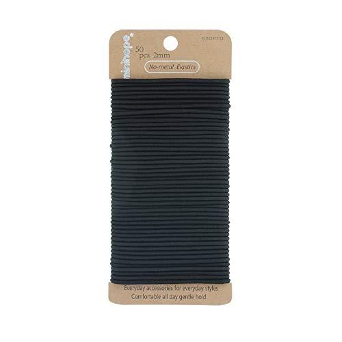 Minihope no-metal ladies elastic hair ties, ladies's black elastics, 2mm Hair elastics 50 Count
