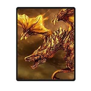 "Custom (Fire) Dragon Fleece Cozy Blanket 40 ""x 50"" Inches"
