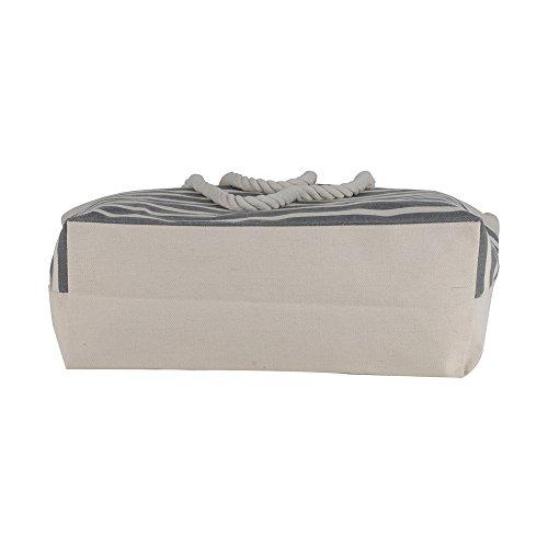 Canvas Heavy Cotton Rope Handles Stripe Zipper Closure Women Premium Straw Beach Tote Bag by BB (Grey) by BB (Image #4)