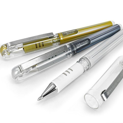 (Pentel Hybrid Gel Grip Metallic Pen - 1.0mm Rollerball - Gold, Silver and White - Set of 3 - K230)
