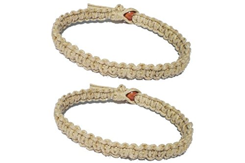 Hemp Braided Bracelet (Two Natural Hemp Surfer Hawaiian Style Bracelet Anklet - Handmade- ( A set of 2) …)