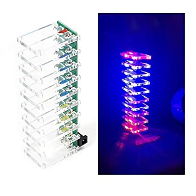 Icstation Voice Control LED Crystal Tower Colorful Light Cube DIY Assemble Kit Audio Music Sound Spectrum Analyzer Level Indicator for Electronics SMD Soldering Practice