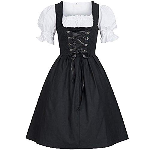 Mitiy Women's German Dirndl Dress Traditional Bavarian Beer Girl Oktoberfest Costumes for Halloween Carnival Maid Dress ()