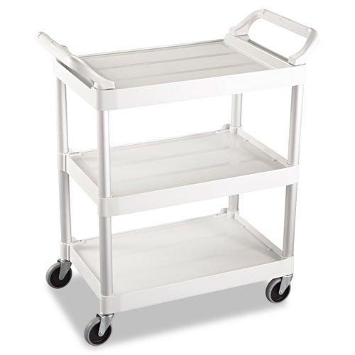 (Rubbermaid 342488OWH Service Cart, 200-lb Cap, Three-Shelf, 18-5/8w x 33-5/8d x 37-3/4h, Off-White)