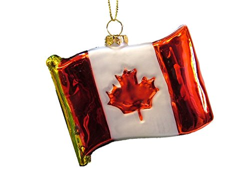 On Holiday New Glass National Flag of Canada Red White Maple Leaf Christmas Tree Ornament