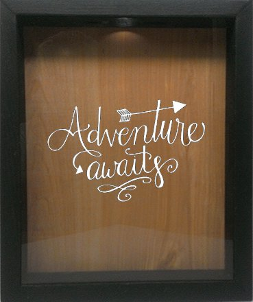 Wicked Good Decor Wooden Shadow Box Wine Cork/Bottle Cap Holder 9x11 - Adventure Awaits (Ebony w/White) by Wicked Good Decor