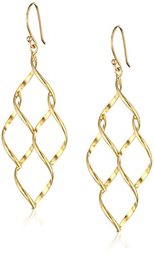 [14k Gold Over Sterling Silver Marquis Twisted Honeycomb Earrings] (14k Marquis)