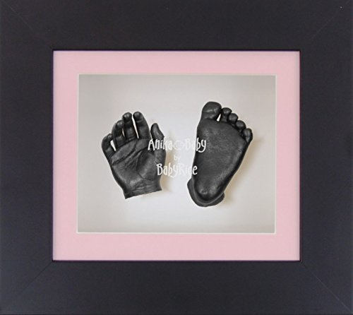 BabyRice 3D Baby Girl Casting Kit Black Box Display Frame Pewter Foot Casts
