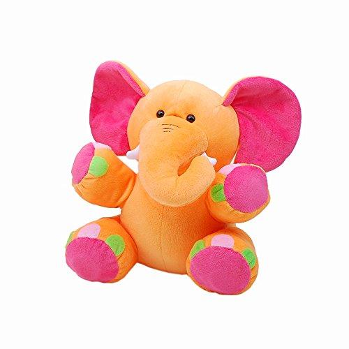 Linzy Lila Elephant Rattle Plush Toy, Orange 8.5