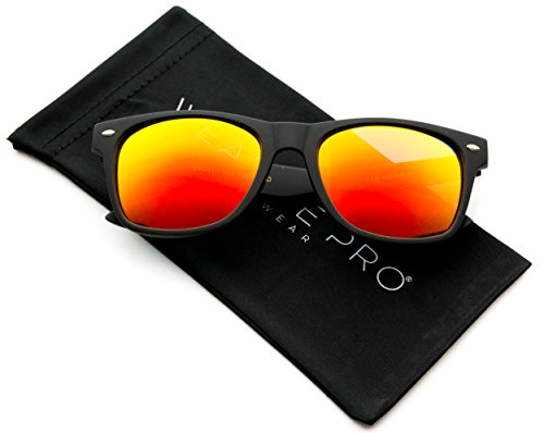 WearMe Pro - Premium Polarized Wayfarer Style Glasses Matte Frame Mirrored Lens - Mirrored Sunglasses Polarized