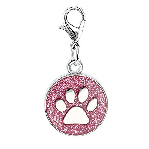 Kamas 10pcs/lot 1818mm Footprint Dog Paw Bling Enamel Pendant Charms with Lobster Clasp Fit Pet Collar Necklace Cell Phone Charms - (Color: ()