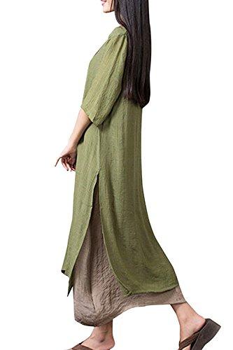 Frauen Jahrgang 1950 3 / 4 Ärmel Pullover Mit Maxi Kleid Green ...