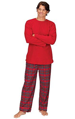 PajamaGram Mens Flannel Pajamas Plaid - Christmas Pajamas for Men, Red, XXL