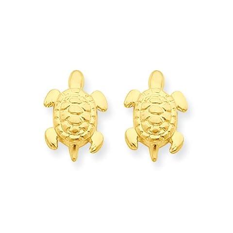 Sea Turtle Post Earrings in 14K Yellow