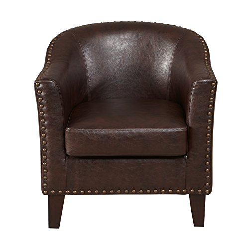 Pulaski Faux Leather Barrel Accent Chair, Medium, Brown