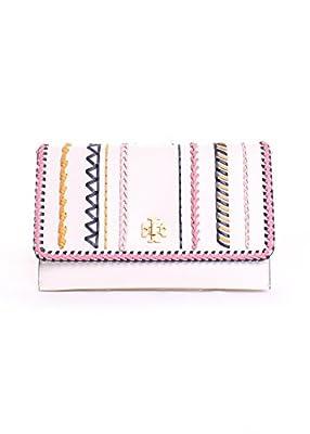 Tory Burch Kira Leather Whipstitch Clutch Handbag in Birch Multi