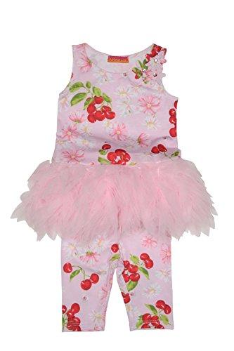 Kate Mack Baby Girl's Infant Cherries Jubilee Tunic & Capri Legging, Pink - 12M (Mack Capri Leggings Kate)