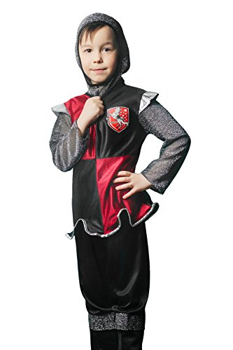 Valiant Knight Childrens Costumes (Kids Boys Little Sir Lancelot Halloween Costume Dragon Slayer Dress Up & Role Play (3-6 years, black, red, gray))
