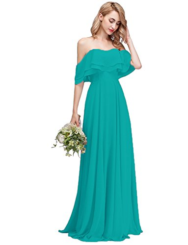 CLOTHKNOW Strapless Chiffon Bridesmaid Dresses Long Turquoise with Shoulder Ruffles for Women Girls to Wedding Party Gowns -