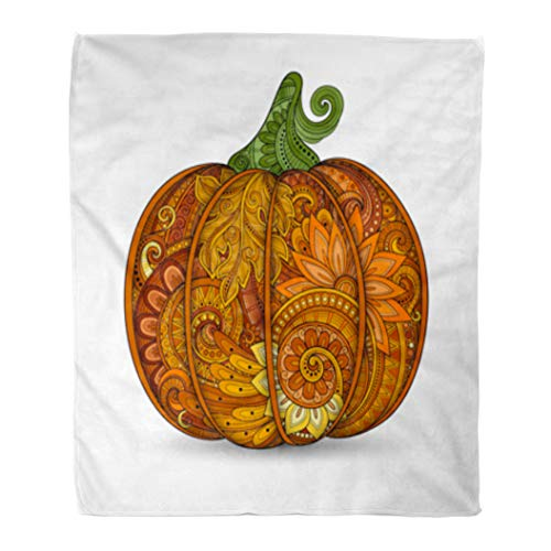 Golee Throw Blanket Green Zentangle Colored Punkim Beautiful Pattern Thanksgiving Symbol Halloween Orange 50x60 Inches Warm Fuzzy Soft Blanket for Bed Sofa